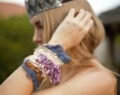 purple beaded cuff, boho beaded cuff, violet beaded cuff, festival embroidered cuff, textile bracelet, fiber art cuff, tattered lace cuff