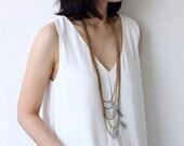 Grey Tassel Layered Brass Long Drop Necklace