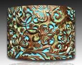 Secret garden polymer clay cuff bracelet