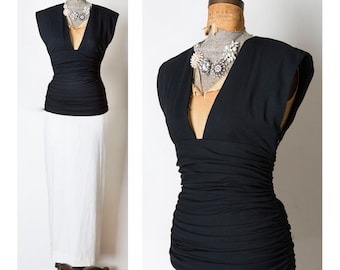 Stunning Vintage Oscar De La Renta Black White PLUNGING Evening Gown Dress M