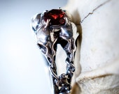 Four Bird Skulls Ring Red Garnet Sterling Silver Ring Made In NYC