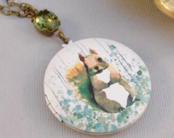 Woodland Squirrel,Squirrel,Locket,Squirrel Locket,Squirrel Necklace,Emearld Locket,Emerald Necklace,Vintage Emerald NecklaceValleyGirlDesign