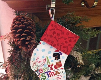 Mini Merry daschunds christmas stocking