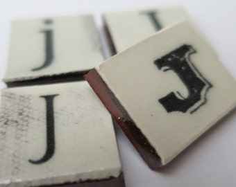 J Ceramic lettering, scrabble sized alphabet tiles hand made in the UK
