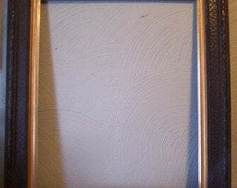 Older Carved Wood Picture Frame, Painted Black with Gold Trim, Picture 16 1/2 x 13 1/2