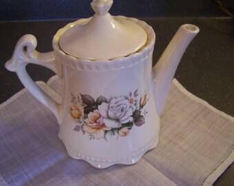 Vintage Porcelain Teapot, Floral Teapot, Cottage Chic, Ivory, Ruffled Rim, Tea Party