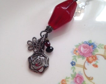 Assemblage Necklace - Artisan Red Glass Focal Bead Pendant - Necklace - Red Jewelry - Flower Necklace - OOAK - Wire Wrapped Pendant