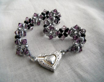 Superduo and Swarovski Crystal Bracelet with Magnetic Heart Clasp - Amethyst, Silver and Black
