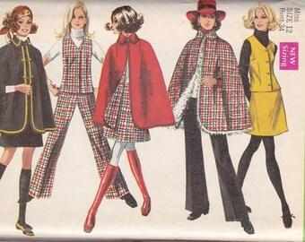 Misses Cape ~ Vest ~ Skirt & Pants Pattern Simplicity 8353 Size Small 12 ~ Cut But Complete