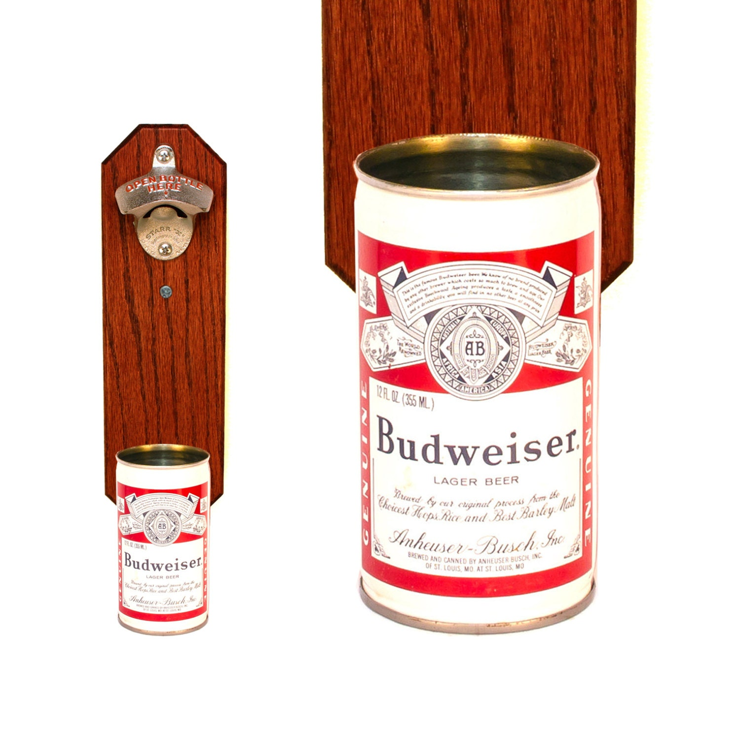 Wall Mounted Bottle Opener With Vintage Budweiser Beer By