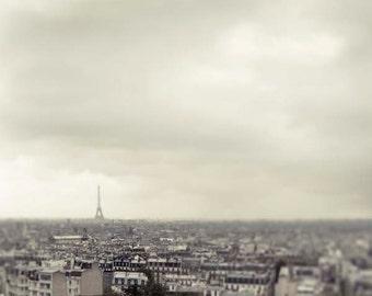 Paris Skyline, Eiffel Tower, Gray, Roof tops Print, Paris Photography, Paris Wall Decor, Fog, Rain, Neutral, Travel