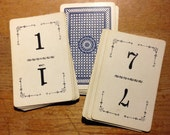 Vintage Playing Card Table Numbers (1-15)