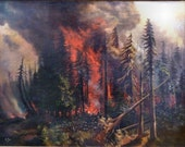 Antique 1907 Painting Peshtigo Forest Fire by M. Toye 21 x 28 after Uralsky's The Untamed Element