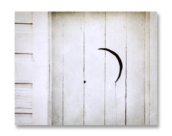 Bathroom Decor, Rustic White Cottage Decor, Bathroom Art, Outhouse Door Crescent Moon, Farmhouse Decor, Black White Gray