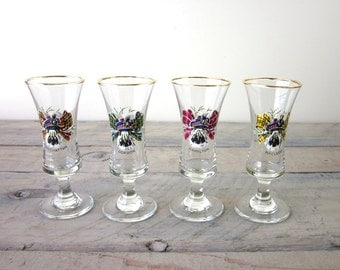 Vintage Cordial Glasses Stemmed Irish Scottish Plaid with Gold Trim