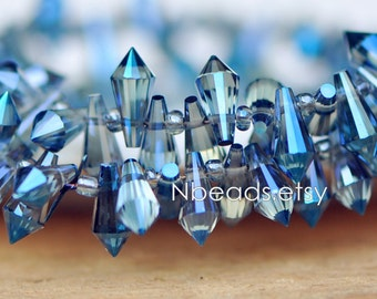 100 beads- Faceted Crystal Glass Briolette beads 8mm, Top Drilled Teardrop, Bicone Long Drop, Montana Blue (#TS72-10)