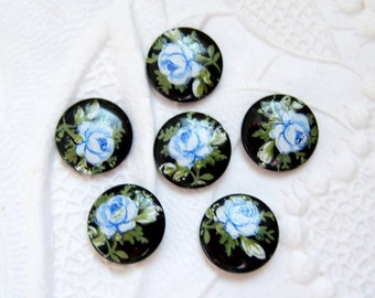 6 - Japanese porcelain 8mm round blue rose on jet cameos- RL60