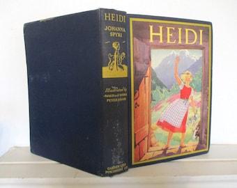 Book, Heidi, 1932, Spyri, Garden City Publishing Company, Petersham illustrations, lovely edition, perfect gift