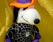 Whitman's Candies, Halloween, Snoopy Warlock, Cobweb, Peanuts, Plush Toy, Mint, Vintage, Eight Inches