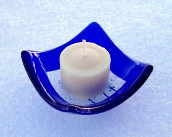 Glass Votive Candle Holder - Dish - Salt Bowl - Cobalt Blue with Clear Center - Home Kitchen Decor - Jewelry Dish Handmade