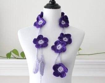 Crochet Purple Flower Lariat, Necklace, Scarf, Scarflette