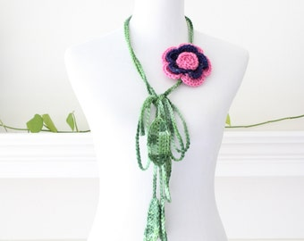 Crochet Pink and Navy Lariat  Necklace, Scarf, Scarflette