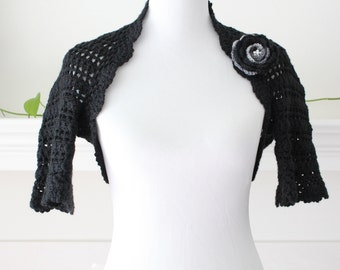Crocheted Black Shrug with Flower brooch