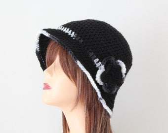 Crocheted Hat Black Gray Cloche Hat