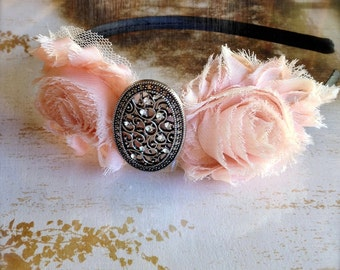 Shabby blossom antique silver filigree headband for women or girls. Choose from over 70 colors.