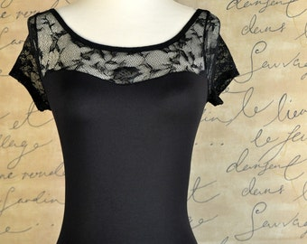 Black lace leotard short sleeves and low back. Adult leotard bodysuit for women
