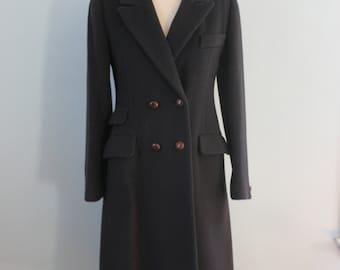 1970s wool coat / 70s tailored navy coat /  Reflections dress coat