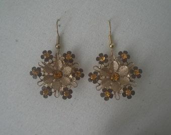 Vintage Amber Color Rhinestones Set in Gold Tone Flowers Hanging Earrings