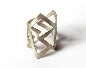 handmade sterling silver geometry ring -  statement ring - adjustable ring- triangle ring