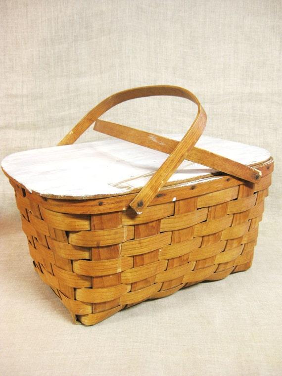 Woven basket craft : Picnic basket woven splint sewing storage craft