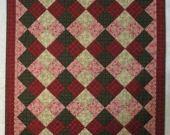 "Handmade Throw Quilt, Red, Green, Black, Ivory, Homemade Quilt, 56"" x 63"""