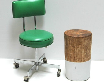 White Paint Dipped Tree Stump Side Table Stool Seat