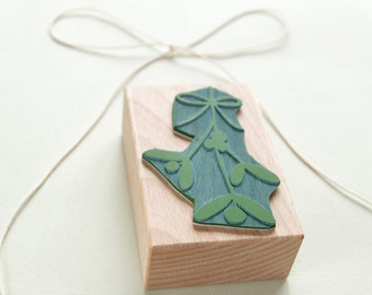 Botanical rubber stamp: Mistletoe with bow