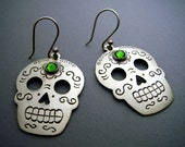 Silver Mexican Day of the Dead Sugar Skull Earrings with Green Swarovski Crystals