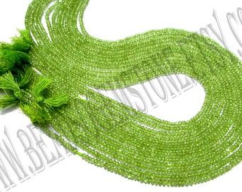 Peridot Faceted Roundel (Quality AA) / 36 cm / 4 to 6 Grms. / 2.5 to 3 mm / BOG-010