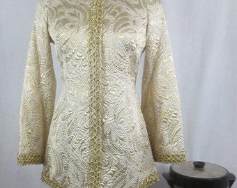 Vintage Glamorous Cosplay Tunic - Star Trek Silver & Gold Jacquard  Uhura Costume Mini Dress