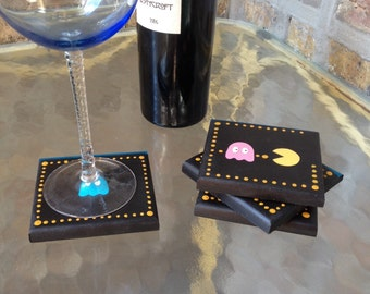Hand Painted PAC-man Inspired Coaster Set