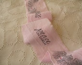 Pale Pink Hand Stamped Christmas Ribbon with Rhinestones Shabby fabric Trim