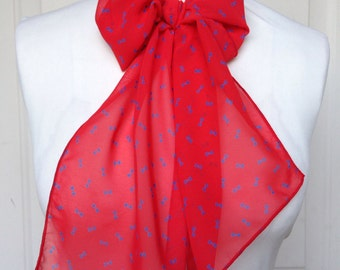 Multi Use Chiffon Hair Scarf - Red and Blue Bows
