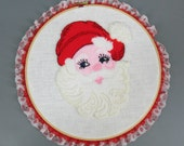 Vintage Handmade Retro Kitsch Embroidered Santa Face in Embroidery Hoop