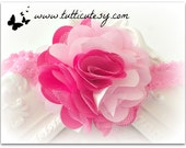 Pink and hot pink Flower headband