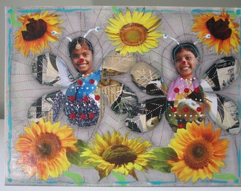 Collage, wall hanging, upcycled, art