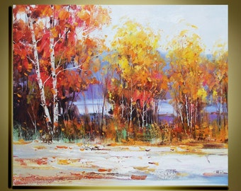 """Original Oil Painting Modern Palette Knife landscape Fine art on Canvas Birch forest Autumn Colour Ready to Hang by Qujun 20"""" by 24"""""""
