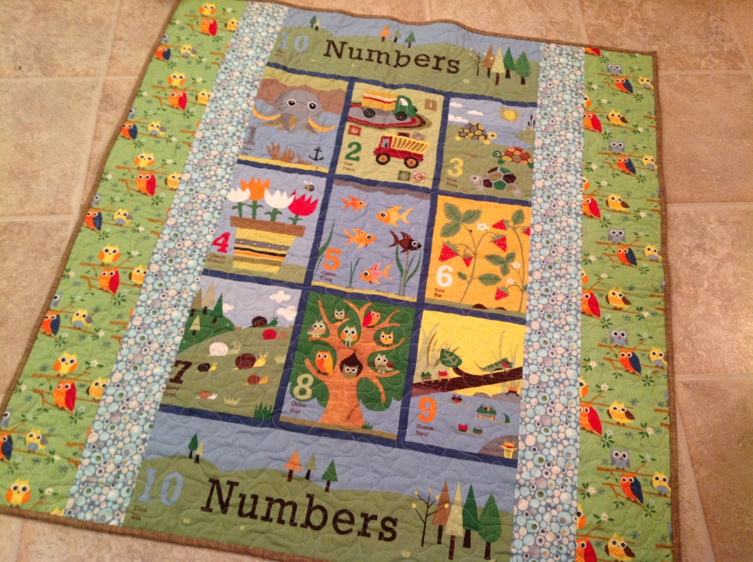 Baby boy quilt in ten little things fabrics by for Quilt material for boys