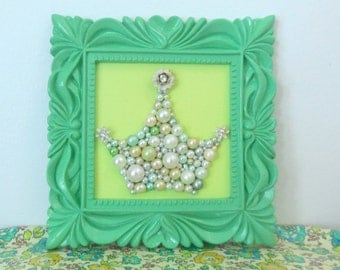 Princess crown - Pastel Green - Retro art - Square ornate frame - White Enamel Flower - Princess Nursery Art - Framed Mosaic -  Rhinestones