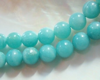 "Full Strand, 15.5"" strand, 6-6.5 mm, Beautiful Amazonite Azure Blue Smooth Round Beads"